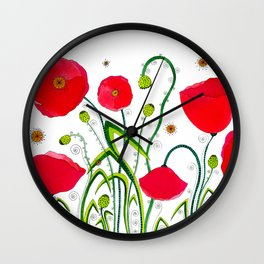 Flower#1 - Red Poppies Wall Clock