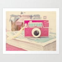 vintage camera Art Prints featuring Camera by Angie Ravelo Art & Photography