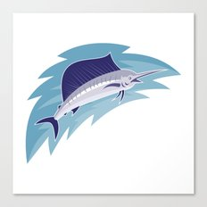 sailfish jumping retro style Canvas Print