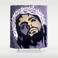 jesus Shower Curtains featuring Jesus minimal  by mark ashkenazi