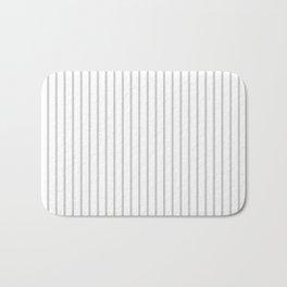 Dove Grey Pin Stripes on White Bath Mat