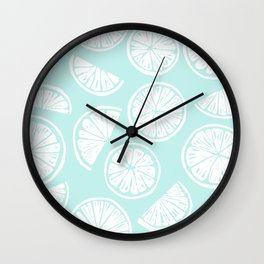 Citrus Wheels - Blue and White Wall Clock