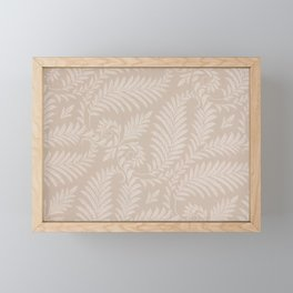Fancy Light Tan Fern Leaves Scroll Damask on Taupe Framed Mini Art Print