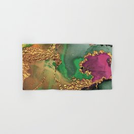 Trendy Glitter Gold, Green, and Pink Paint Texture Hand & Bath Towel