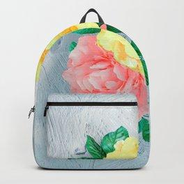 Flowers Green Sheen Rose Tan Backpack