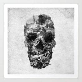 Town Skull B&W Art Print
