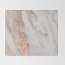 Marble Rose Gold Shimmery Marble Throw Blanket