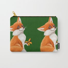 Cute fox playing with a butterfly Carry-All Pouch