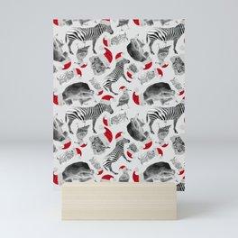 Animal Santas in Grey Mini Art Print