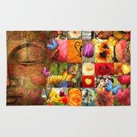 buddha Area & Throw Rugs featuring buddha  by mark ashkenazi