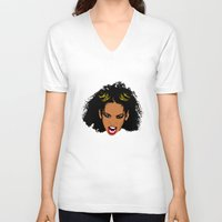spice girls V-neck T-shirts featuring Spice World - Mel B Scary Spice by Binge Designs Homeware