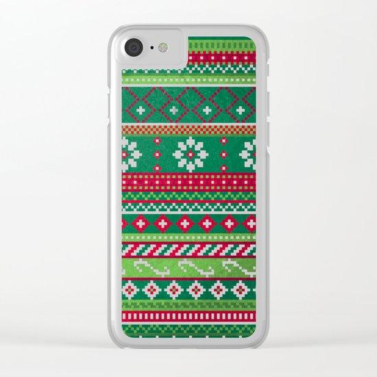 Fair Isle Christmas Pattern Clear iPhone Case