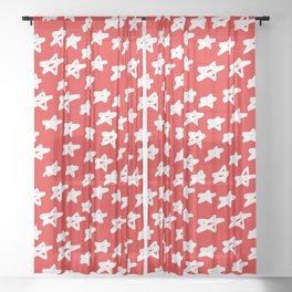 Stars on red background Sheer Curtain
