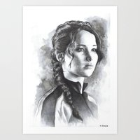katniss Art Prints featuring Katniss by Nienke Feirabend