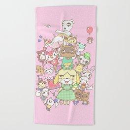 Animal Crossing (pink) Beach Towel