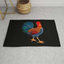 Rooster on Black Rug