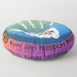 Peace and Love - coloured art digital by Iona Art Digital Floor Pillow