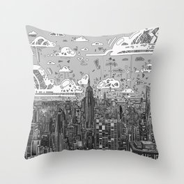 new york city skyline black and white Throw Pillow