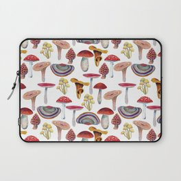 Mushrooms pattern. Hand drawn with colored pencils. Autumn harvest theme. Laptop Sleeve