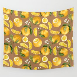 Juicy Citrus Pattern with Fresh Oranges Wall Tapestry