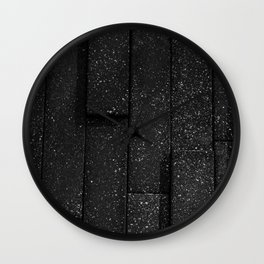 white speckled contrasted bricks - black and white Wall Clock