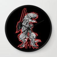 metal gear Wall Clocks featuring Metal Gear T.REX by MeleeNinja