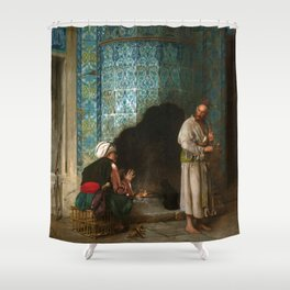 Jean-Leon Gerome - Talk At The Furnace Side - Digital Remastered Edition Shower Curtain