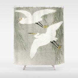 Flying Egrets - Japanese vintage woodblock print Shower Curtain