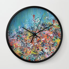Blue Confetti 2, Abstract Floral Wall Clock