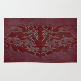 Tribal Wolf Red Rug