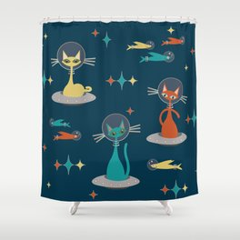 Retro Cats in Space Shower Curtain
