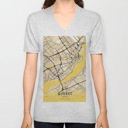 Quebec Yellow City Map Unisex V-Neck