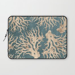 Coral teal - scratched leather Laptop Sleeve