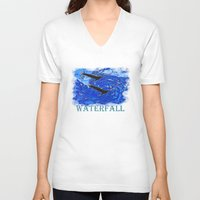 waterfall V-neck T-shirts featuring Waterfall by Avigur