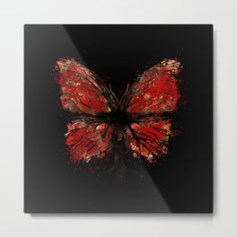 Butterfly Tree - Gold and Red Metal Print