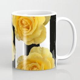 Yellow Roses on Black & White Stripes Coffee Mug