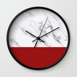 White Marble Red Hot Striped Wall Clock