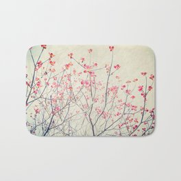 Ruby and Rose Quartz -- Red Pink Dogwood Tree in Flower Bath Mat