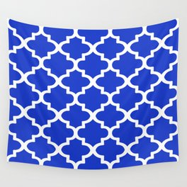 White Quatrefoil Pattern Outline With Royal Blue Background Wall Tapestry