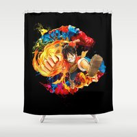 luffy Shower Curtains featuring Luffy Attack by feimyconcepts05