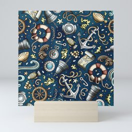 Nautical Doodle Pattern 01 Mini Art Print