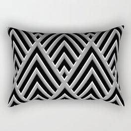 3-D Art Deco Ornate Silver Pattern Rectangular Pillow