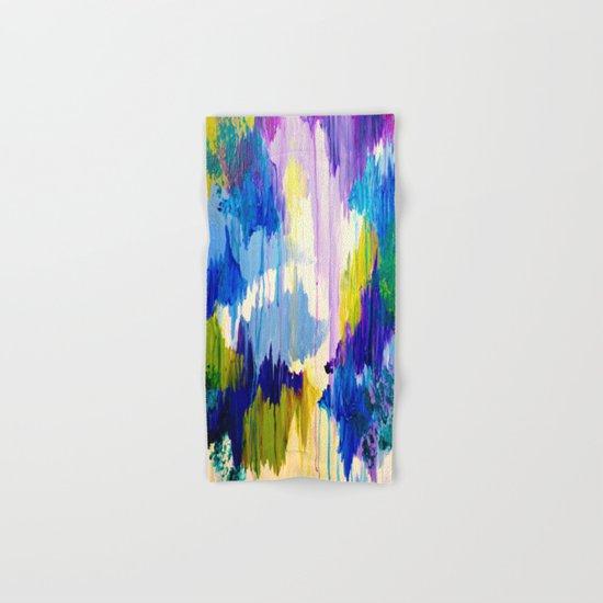 WINTER DREAMING - Jewel Tone Colorful Eggplant Plum Periwinkle Purple Chevron Ikat Abstract Painting Hand & Bath Towel