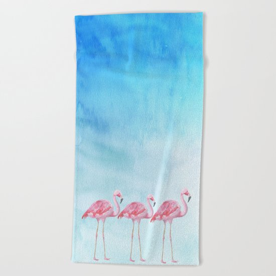 Flamingo bird summer lagune - watercolor illustration Beach Towel