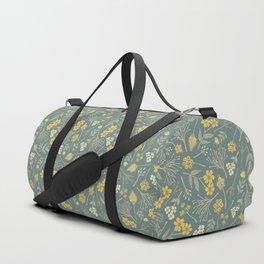 Yellow, Cream, Gray, Tan & Blue-Green Floral Pattern Duffle Bag