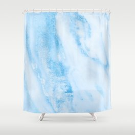Shimmery Blue Clouds Marble Metallic Shower Curtain