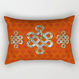 Decorative Marble and Gold Endless Knot symbol Rectangular Pillow