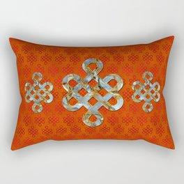 Decorative Marble and Gold Endless Knot symbol Rectangular Pillow