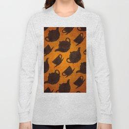 Teapots Cups Design Symbol Texture Pattern Long Sleeve T-shirt