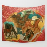 racing Wall Tapestries featuring Racing Collage by Connie Campbell